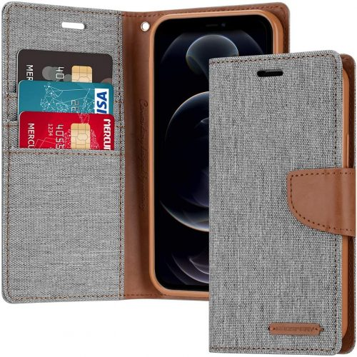 iPhone 12 and iPhone 12 Pro Goospery Canvas Wallet Case Grey