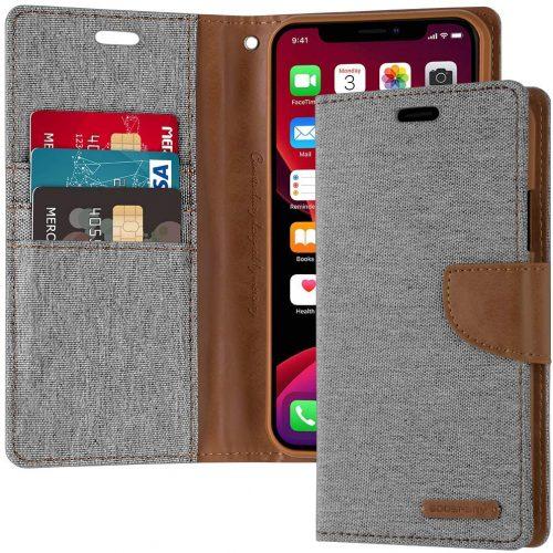 iPhone 11 Pro Max canvas wallet case grey