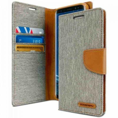 Samsung Galaxy S9 Plus Goospery Canvas Wallet Case Grey