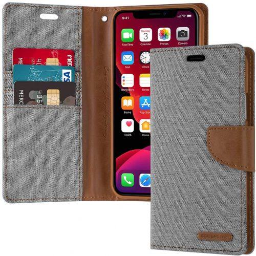 iPhone 11 Goospery Canvas Wallet Case Grey