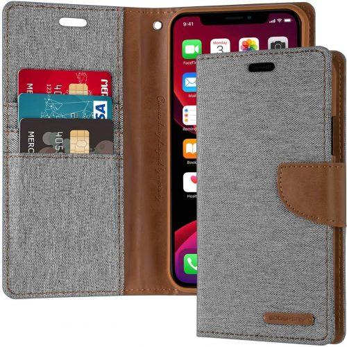 iPhone 11 Pro Goospery Canvas Wallet Case Grey