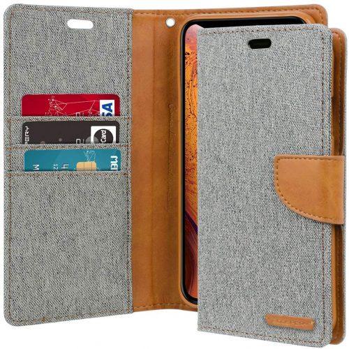 iPhone XS MAX Goospery Canvas Wallet Case Grey