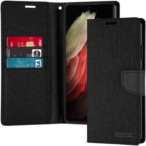 Samsung Galaxy S21 Ultra Goospery Canvas Wallet Case Black