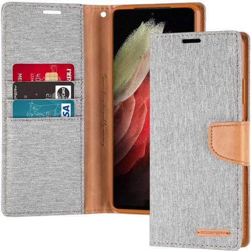 Samsung Galaxy S21 Ultra Goospery Canvas Wallet Case Grey